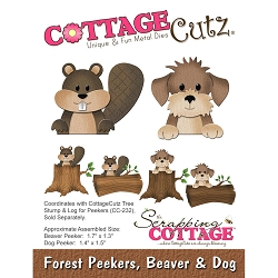 Cottage Cutz - Die - Forest Peekers, Beaver & Dog (logs sold separately)