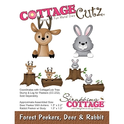 Cottage Cutz - Die - Forest Peekers, Deer & Rabbit (logs sold separately)