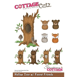 Cottage Cutz - Die - Hollow Tree w/ Forest Friends