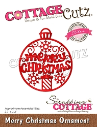 Cottage Cutz - Die - Merry Christmas Ornament (Elites)