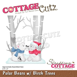 Cottage Cutz - Die - Polar Bears w/ Birch Trees