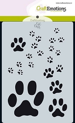 Craft Emotions - A6 Stencil - Paw Prints
