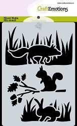 Craft Emotions - A6 Stencil - Magic Forest Animals