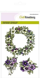 Craft Emotions - clear stamp - Purple Holiday Garland with Flowers