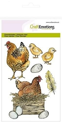 Craft Emotions - clear stamp - Chicken with Chicks