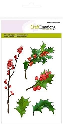 Craft Emotions - clear stamp - Berry Twigs and Holly Leaves