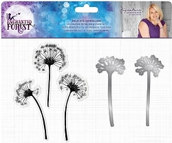 Crafter's Companion - Enchanted Forest Collection by Sara Davies - Delicate Dandelion Clear Stamps & Die Set