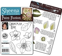 Paint Fusion Christmas EZMount Stamp Set by Sheena Douglas - Christmas Rose