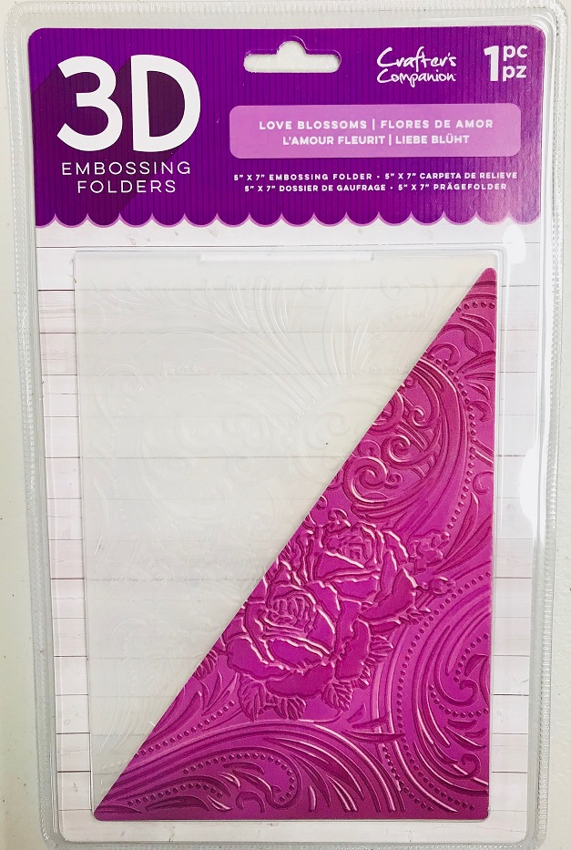 """Crafter/'s Companion 3D Embossing Folder 5/""""X7/"""" Love Blossoms NEW"""
