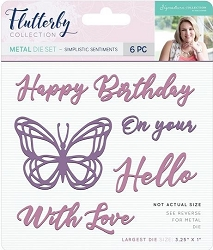 Crafter's Companion - Flutterby Collection by Sara Davies - Metal die Set - Simplistc Sentiments