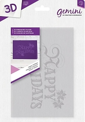 Crafter's Companion - 3D Embossing Folder Happy Holidays