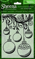 Crafter's Companion - Sheena Festive 5x7 Embossing Folder - Beautiful Baubles