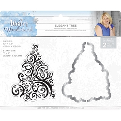 Crafter's Companion - Winter Wonderland Collection by Sara Davies - Elegant Tree Clear Stamps & Die Set