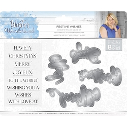 Crafter's Companion - Winter Wonderland Collection by Sara Davies - Festive Wishes Clear Stamps & Die Set