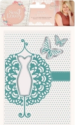 Crafter's Companion - Sew Lovely Collection by Sara Davies - 5x7 Sewn with Love Cut & Emboss Folder