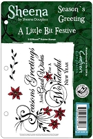 Crafter's Companion - A Little Bit Festive Cling Stamps by Sheena Douglass - Season's Greetings