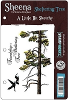 Crafter's Companion - Sheena Cling EZMount Stamp - A Little Bit Sketchy by Sheena Douglass - Sheltering Tree