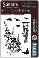 Crafter's Companion - Sheena Cling EZMount Stamp - A Little Bit Sketchy by Sheena Douglass - Silhouette Wildflowers
