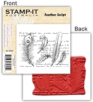 Stamp-It -EZ Mount Rubber Stamp - Feather Script