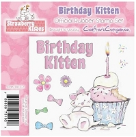 Strawberry Kisses - Rubber Stamp Set - Birthday Kitten