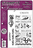 Stamp-It Australia - EZ Mount Cling Stamp Set - Key Sentiments Set 64