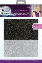 Crafter's Companion - Enchanted Christmas Collection by Sara Davies - Luxury Cardstock Pack:  Glitter Card (Black/Silver)