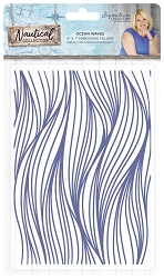 Crafter's Companion - Nautical Collection by Sara Davies - 5x7 Ocean Waves Embossing Folder