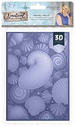 Crafter's Companion - Nautical Collection by Sara Davies - 5x7 Seashell Medley 3D Embossing Folder
