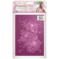 Crafter's Companion - Parisian Collection by Sara Davies - 5x7 Peony Trio 3D Embossing Folder