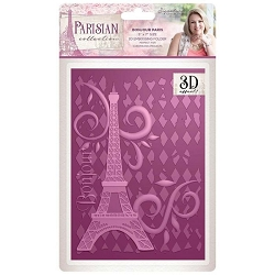 Crafter's Companion - Parisian Collection by Sara Davies - 5x7 Bonjour Paris 3D Embossing Folder