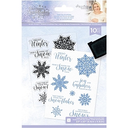 Crafter's Companion - Glittering Snowflakes Collection by Sara Davies - Chase The Snowflakes Clear Stamps