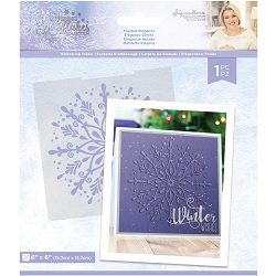 Crafter's Companion - Glittering Snowflakes Collection by Sara Davies - 6x6 Frosted Elegance Embossing Folder