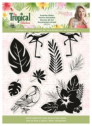 Crafter's Companion - Tropical Collection by Sara Davies - Love in Paradise Clear Stamps