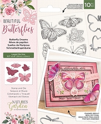Crafter's Companion - Beautiful Butterflies Collection - Butterfly Dreams Clear Stamps & Die Set