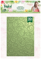 Crafter's Companion - Tropical Collection by Sara Davies - Tropics Swirls 5x7  3D Embossing Folder
