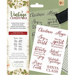 Crafter's Companion - Vintage Christmas Nature's Garden - Christmas Magic Clear Stamps