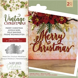 Crafter's Companion - Vintage Christmas Nature's Garden - Merry Christmas Die