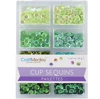 Craft Medley - Sequins - Go Green Assortment (7mm)