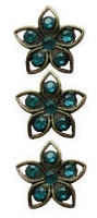 Creative Charms - Vintage Shank Buttons - Turquoise Flowers (5/8
