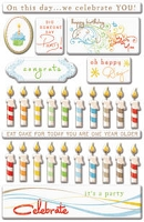 Creative Imaginations - Art Warehouse by Danelle Johnson - Epoxy stickers - Candles & Cake