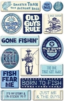 Creative Imaginations - Old Guys Rule Collection - Epoxy Stickers - Fishing
