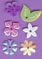 Creative Impressions Mylar Die Cuts - Small Pastel Flowers/Leaves