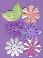 Creative Impressions Mylar Die Cuts - Large Pastel Flowers/Leaves
