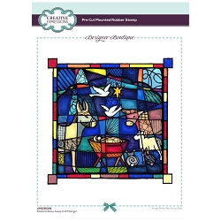 C.E. Designer Boutique - Stained Glass Away In A Manger Cling Stamp