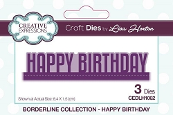 Creative Expressions - Die - Borderline Collection by Lisa Horton - Happy Birthday