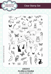 Creative Expressions - Willowby Woods Collection - Flora & Fauna Clear Stamps