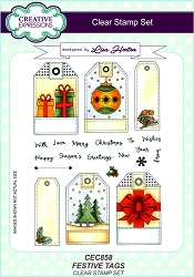 Creative Expressions - Clear Stamp - Festive Tags by Lisa Horton