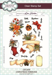 Creative Expressions - Clear Stamp - Christmas Ribbons by Lisa Horton