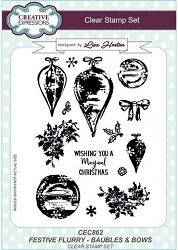 Creative Expressions - Clear Stamp - Festive Flurry Baubles & Bows by Lisa Horton