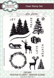 Creative Expressions - Clear Stamp - Festive Flurry Winter Scene by Lisa Horton